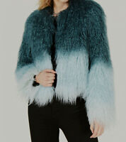 NEW $369 Bar III Women's Teal Blue Ombre Faux-Fur Open Front Jacket Size XS