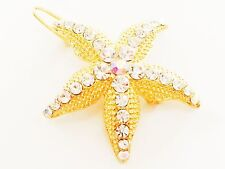 USA Hair Clip using Swarovski Crystal PIN Small Claw Gold Starfish Mermaid 01