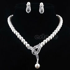 Silver Diamante Crystal Rhinestone Bridal Pearl Necklace Earring Jewelry Sets