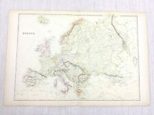 1888 Antique Map of Continental Europe Original 19th Century Blackie & Son