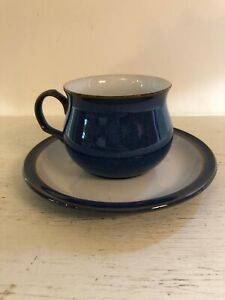 Vintage Denby Imperial Blue Cup and Saucer 8 Available