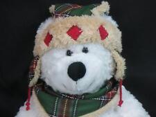 "PLAID WINTER BOOTS SCARF HAT AWESOME WHITE HUGFUN TEDDY BEAR PLUSH STUFFED 18"""