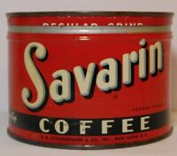 Old Vintage 1950s SAVARIN GRAPHIC COFFEE TIN ONE POUND NEW YORK MADE IN THE USA