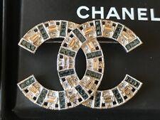 Nib 100%Auth Chanel B17 X-Large Blue and White Crystal Cc Logo Brooch Silver Hdw