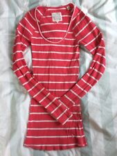 JACK WILLS Hot Pink And White Stripe Long Sleeve Long Top T-Shirt Size 8