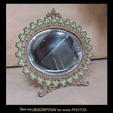 Antique Victorian Oval Dresser / Vanity Mirror Shamrocks Border Beveled Mirror