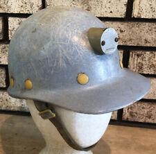 Superglas Fibre Metal Fiberglass Coal Miners Hard Hat W Light Mount Vtg Made Usa