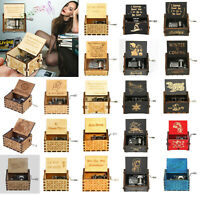Retro Vintage Music Box Wood Hand Cranked Music Box Home Crafts Ornaments Decor