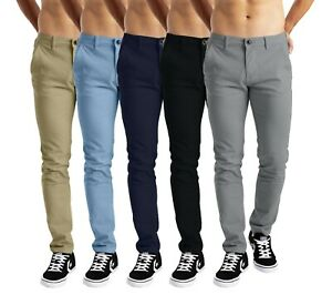 Mens Chino Trousers Stretch Slim Fit Casual Cotton Designer Pants