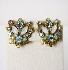 Vintage FLORENZA Signed Blue AB RHINESTONE Moonstone Earrings Jewelry