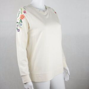 Atmosphere Ladies White Embroidery on Shoulder Long Sleeve Jumper Uk Size 8