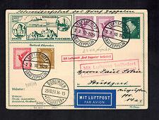 1929 Boblingen Germany Graf Zeppelin Postcard Cover to Stuttgart LZ 127