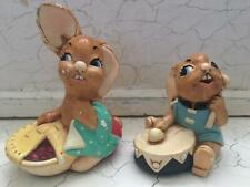 Pendelfin Rabbit Stonecraft Handpainted Figurines - Bongo & Pieface