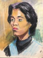 Portrait - Young Woman 2 - Head - Oil Pastels - Expressive - Unsigned