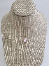 """Rose gold crystal solitaire pendant necklace. Cz solitaire. Rhinestone 16"""" chain"""