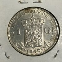 1940 NETHERLANDS SILVER ONE GULDEN HIGH GRADE COIN