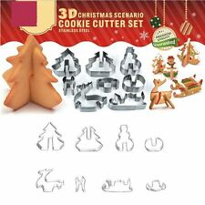 3D Christmas Cookie Cutter Set Scenario Cake Decoration Stainless Steel Biscuit