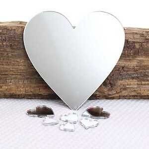 Medium Heart Wall Mirror for Bedroom Bathroom Kitchen Living Room & Sticky Pads