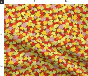 Autumn Fall Leaves Leaf Tossed Ditsy Small Red Spoonflower Fabric by the Yard