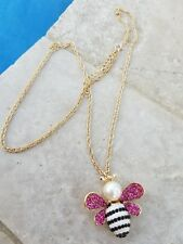 "Bee Pendant Necklace Pink Rhinestones Faux Pearl Gold 26"" Spring Bumble Bee USA"
