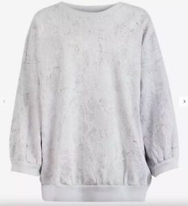 All Saints Oversized 3/4 Sleeve Lavender Embroidered Sweatshirt - UK 12-14 (M)