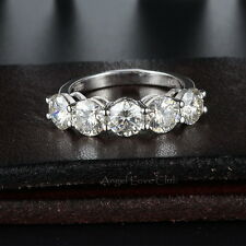 2.0 Ct Five Stones Round Cut Colorless Clear Moissanite Anniversary Bands Ring