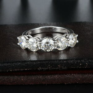 2.0 Ct Five Stones Round Cut Colorless Moissanite Anniversary Bands Ring