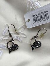 Small Silver Metal Crystal Heart Earrings Jewellery