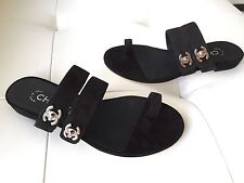 2017 CHANEL BLACK SUEDE LEATHER TOE-RING FLAT SANDALS WITH SILVER CC LOCK 37