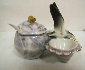 Saleron Mustard Pot Salt And Pepper Goose IN Relief La Baule Porcelain of France