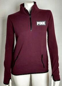 Ladies Pink V/S Maroon 1/4 Zip Pullover With Thumb Holes Size S