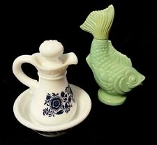 Vintage Avon Skin So Soft Pitcher & Tub Combo and Foam Bath Fish Home Decor