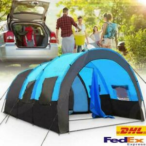 GB Large Family Tent 8-10 Person Tunnel Tents Camping Column Tent Waterproof