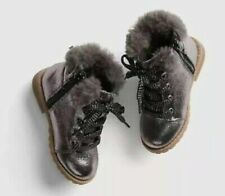 Baby Gap Girl's Metallic Gunmetal Faux Fur Lace Up Combat Boot Shoes Sz 8 NWT