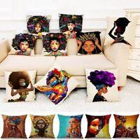 "18"" Home Bed Sofa Decor African Tribal Woman Print PillowCase Soft Cushion Cover"