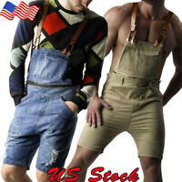Men Retro Denim Slim Overalls Shorts Jeans Jumpsuit Rompers Suspenders Shorts