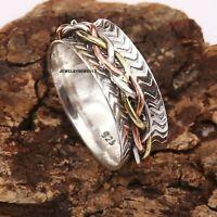 Solid 925 Sterling Silver Ring Spinner Ring Handmade Ring Size sr401