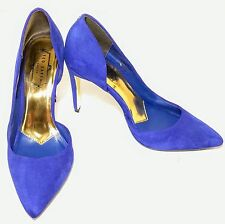 Ted Baker Meshi Women's Blue Suede Gold Leather Point Toe Heels Shoes US 8M $150