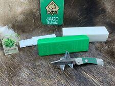 1986 Puma 23 0455 Rambler Knife With ABS Green Checkered Handles Mint Box Tag A1