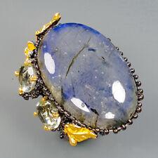 Shop Art Design Natural Labradorite 925 Sterling Silver Ring Size 8.5/R92734