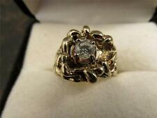 Vintage Retro Solid 14k Yellow Gold And Diamond Gold Nugget Ring Sz 10.25 13.8g