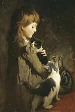 "Abbott Thayer, ""The Favorite Kitten"" digital print, 22""hx14.8'""w image size"