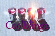 Pink Crystal Rhinestone Bling Tire Valve Stem Caps made w/ Swarovski Elements