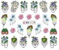 Nail Art Stickers Water Decals Transfers Jewels Pink Green Flowers (BN1179)