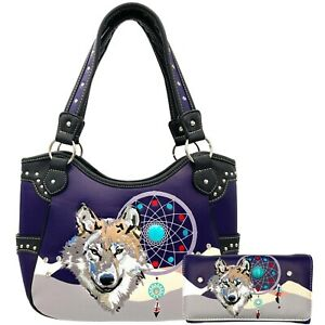 Wolf Dream Catcher Native Feather Embroidered Women CCW Handbag Purse Wallet Set