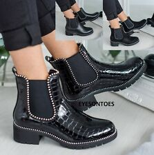 LADIES CHUNKY SOLE CHELSEA LOW BLOCK HEEL FLAT WOMENS ANKLE STUDDED SHOES BOOTS