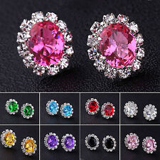 Fashion Women Elegant Crystal Rhinestone Ear Stud Earrings Gift Jewelry Black