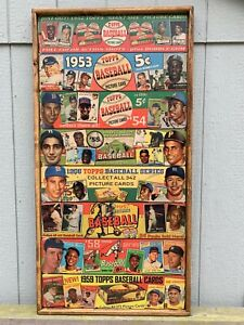 Vintage Style 1952-1959 Topps Baseball Sets all in One Print on Wood 18X36