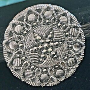 Beautiful Antique Black Glass Silver Luster Star Button