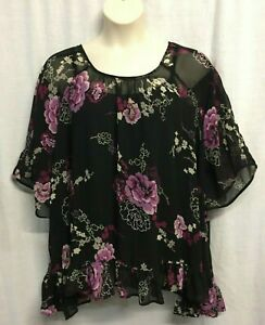 Kaftan Top 14-16-18-20+/One Size TREE OF LIFE 3/4 Sleeve Rayon Black Pink Floral